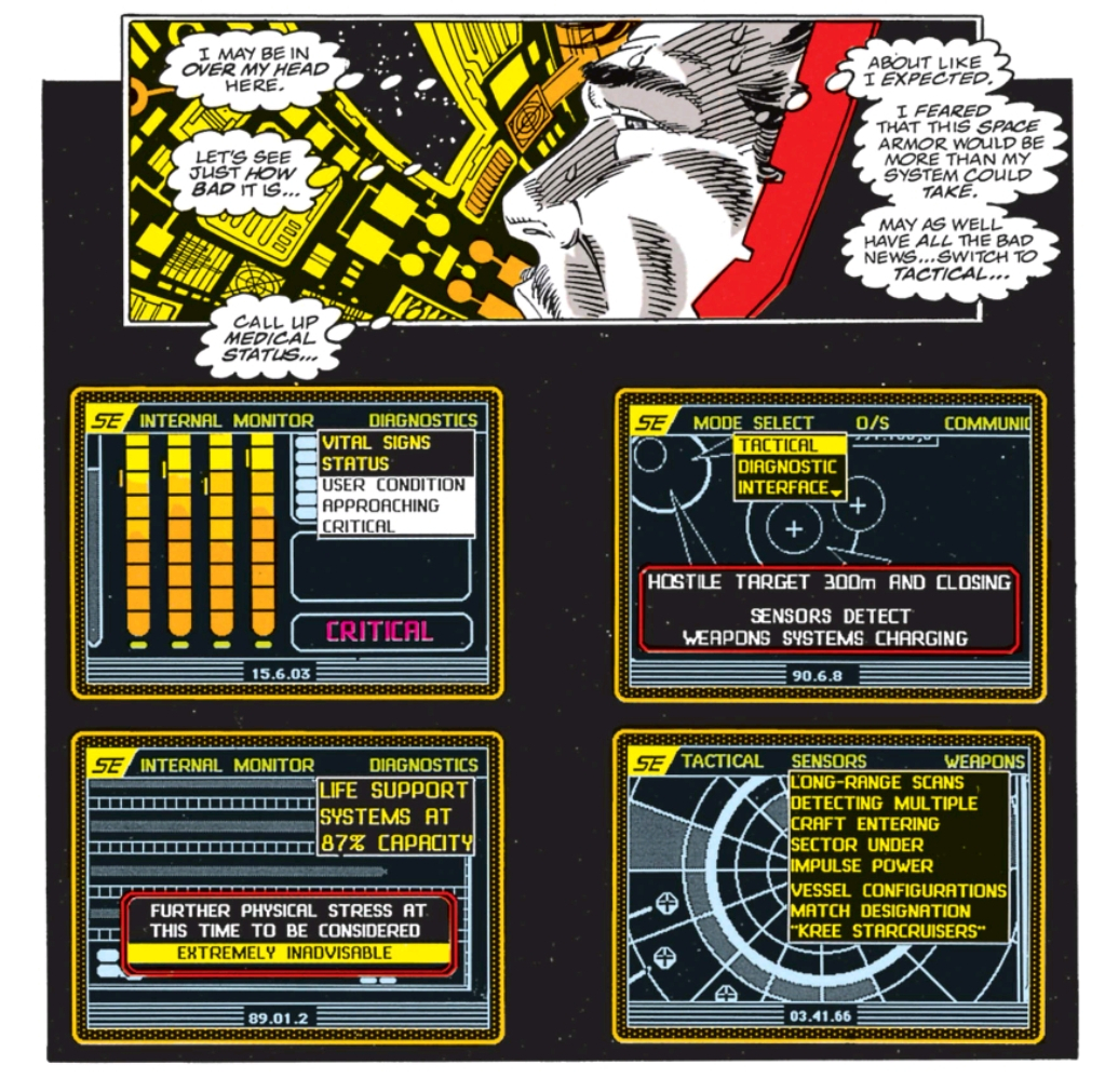 Of the issues I read, this is one of the TWO that features anything remotely resembling the MCU HUD