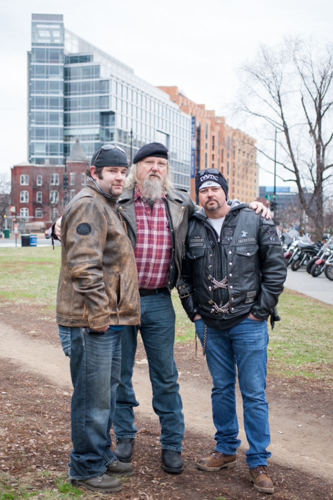 Bikers for Trump volunteers from Virginia overseeing the bike parking in a downtown park. Around 10:30 am.