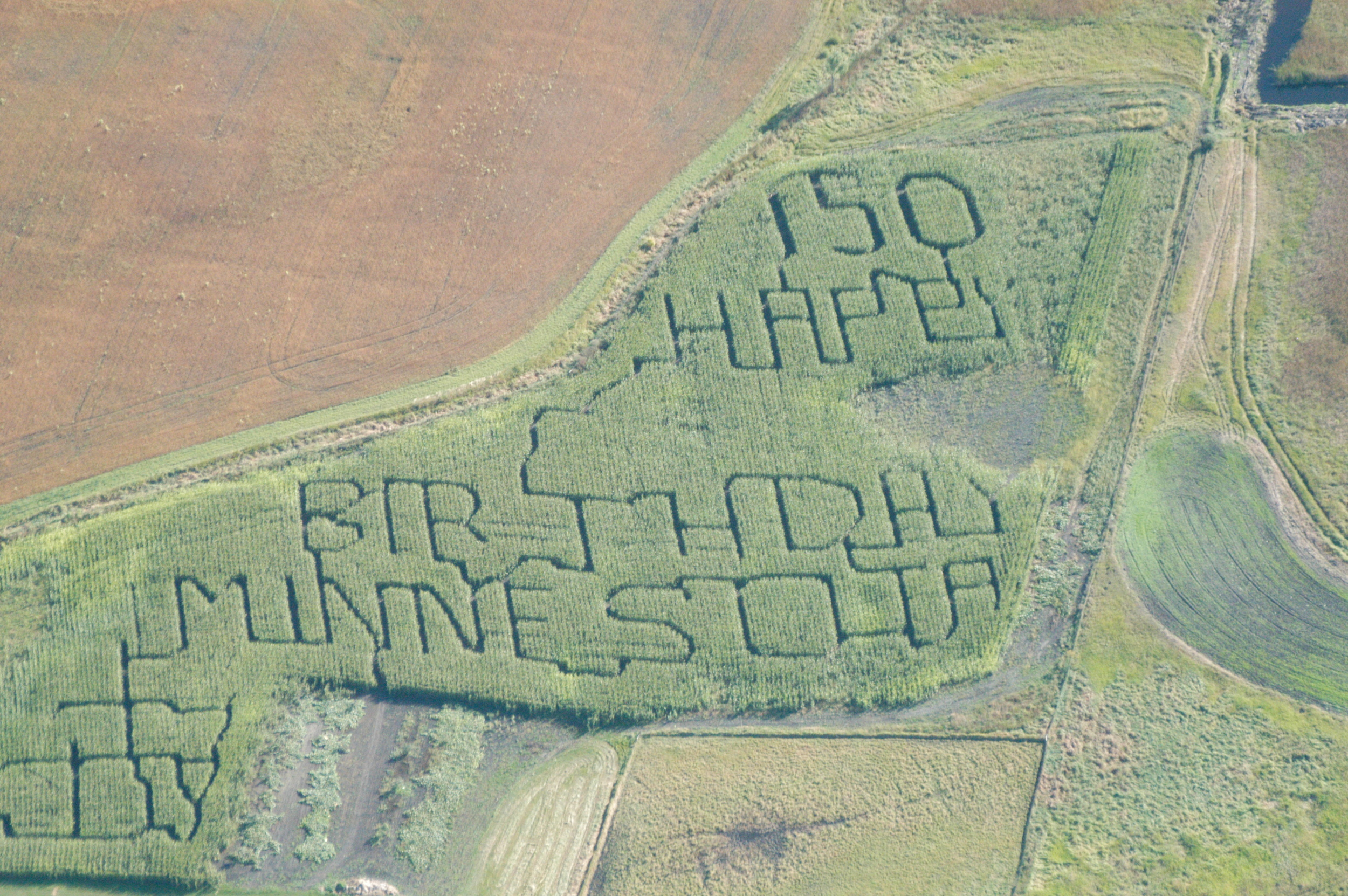 Every year there's a different maze to explore.  Can you guess what year this Corn Maze photo was taken?