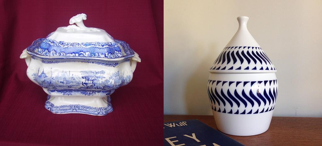 A la izquierda una sopera de Sargadelos de 1845. A la derecha la bombonera Cil Follellas Azul que me trajo Sandra de su tierra hace poco.