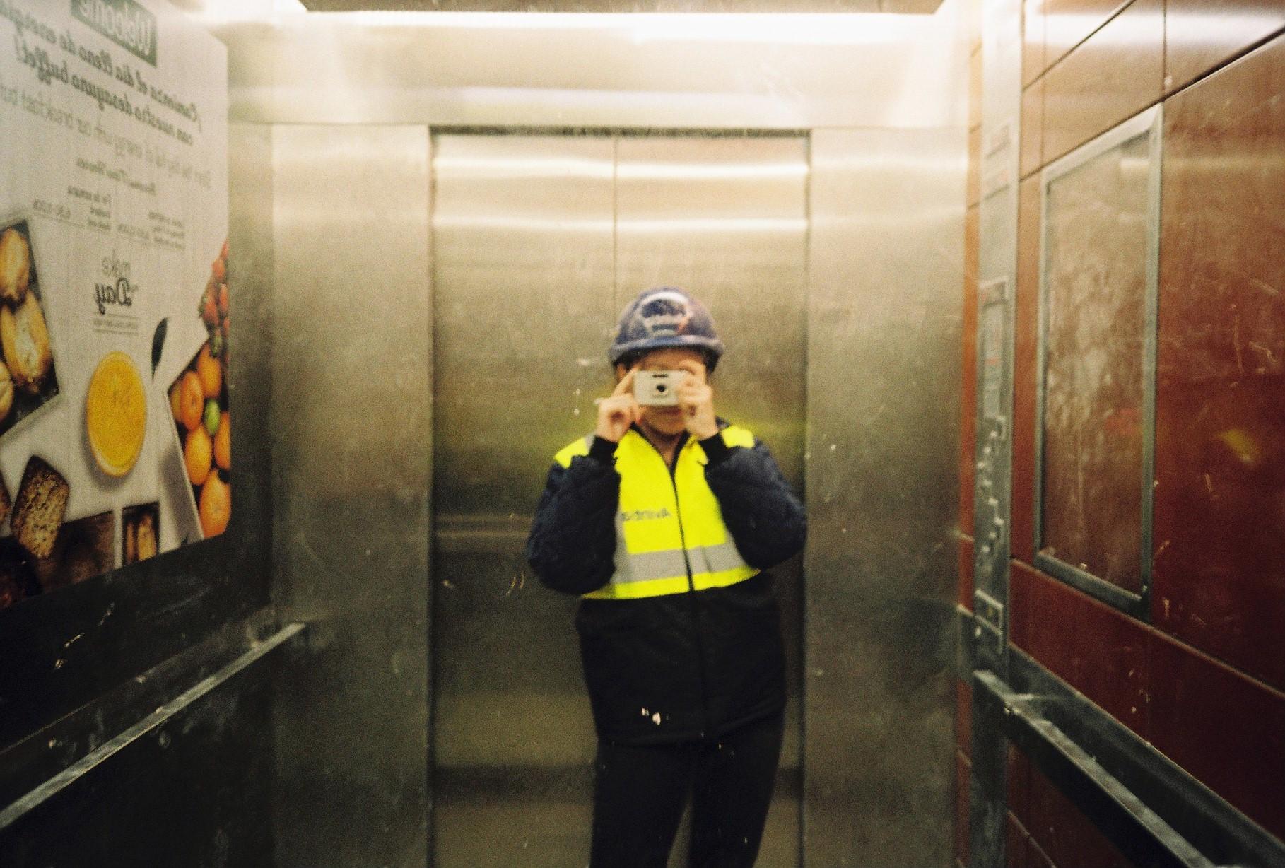 This is Jara, in her working attire. Fujifilm Tiara, Kodak Color, developed at  La Peliculera .