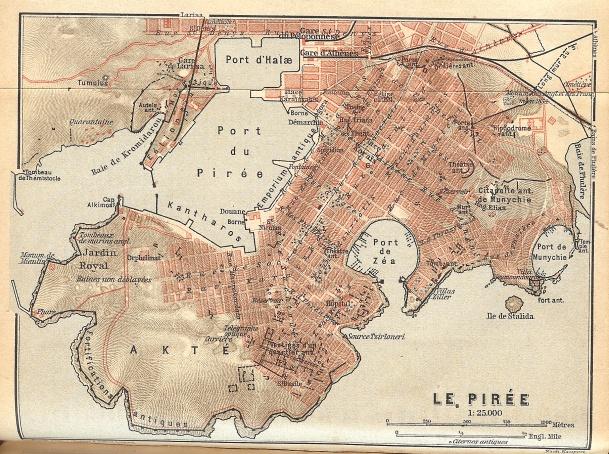 Un mapa del Pireo, sin apenas cambios desde su fundación hasta  la actualidad .