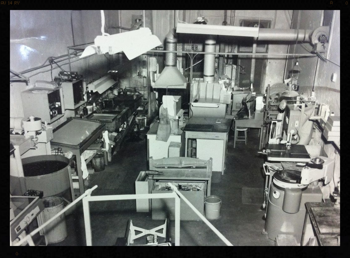 Picture taken in 1940s inside the original shop location. Some of this equipment we still use today!