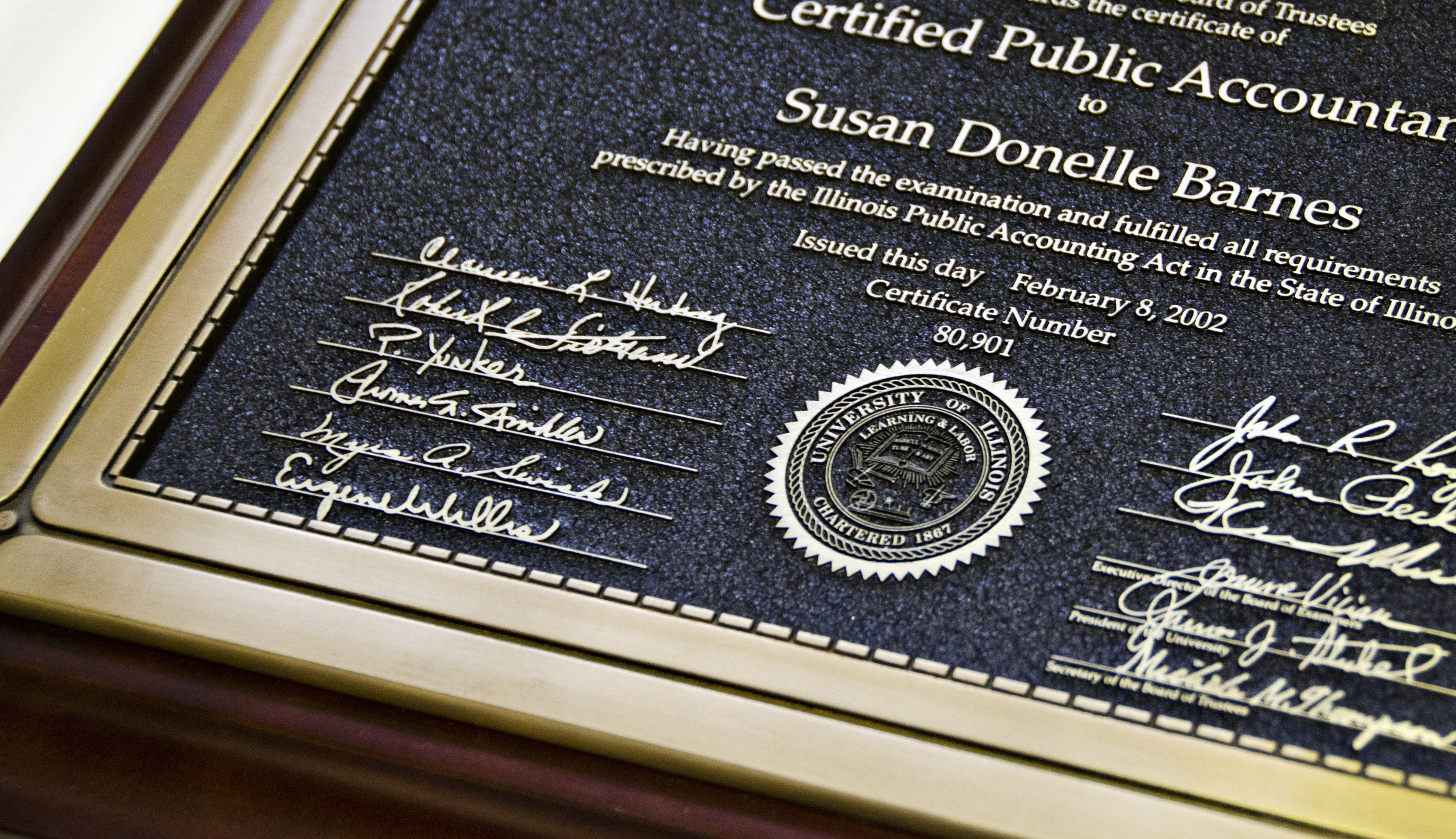 Certificate Etched in Magnesium