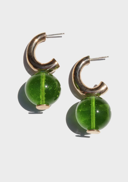 Glass C-curve    earrings by Modern Weaving. Put these on and, Boom! you're lewk is complete.