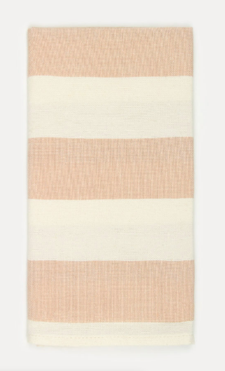 Wide pink stripes    on handwoven linen. What better way to Spring out your table.