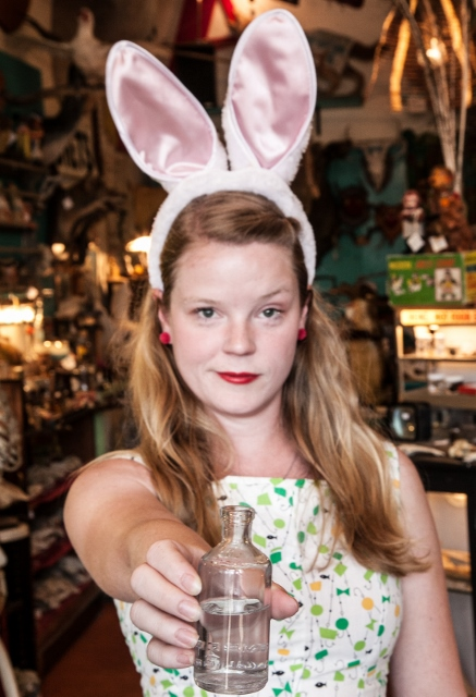 Dina Marie Walters as one of the White Rabbit tour guides in ALICE (2014).    photo: Johnny Knight