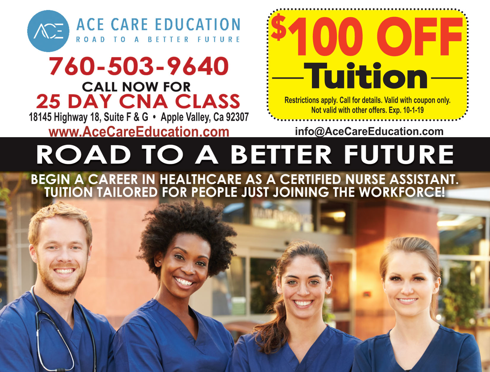 BEGIN YOUR CAREER IN NURSING  PROVIDING YOU WITH HEALTH CARE KNOWLEDGE FOR A LIFE LONG JOB  Go to Our Experience OUR EXPERIENCE  Ace Care Education (ACE) is a California based company with team members that have more than 2 decades of live experience with helping schools and students achieve their academic goals.    Go to Our Services OUR SERVICES  ACE services include: CNA Job Training, Vocational & Career Education, English For Nurses, Job Placement & Staffing    Go to Our Partners OUR PARTNERS  ACE provides career services to medical entities: Skilled Nursing Facility (SNF), Intermediate Care Facility (ICF), Hospital Transitional Care Facility, Nursing & Rehabilitation Center, Home Care & Hospice, Assisted Living Facility