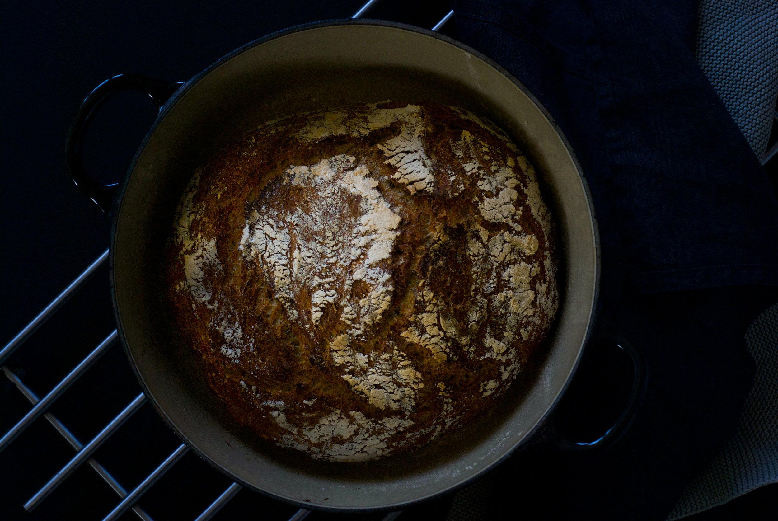 Mønster.  Disse eltefrie brødene får en flott struktur og mønster på toppen.