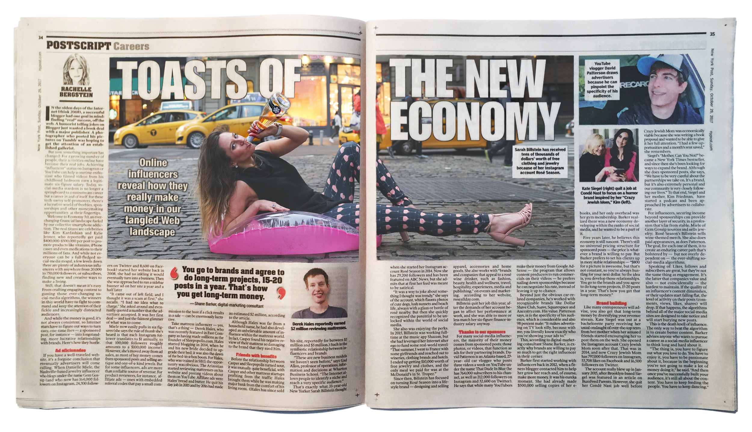New York Post (NY Post) article on influencer marketing, featuring lifestyle influencer Sarah Billstein of Rosé Season