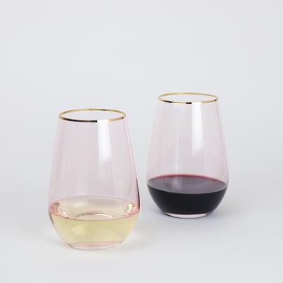Wonderland Rose Crystal Stemless Wine Glasses (Set of 2) - $29