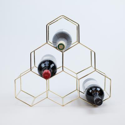Mid-Century Modern Gold Metal Wine Rack - $42