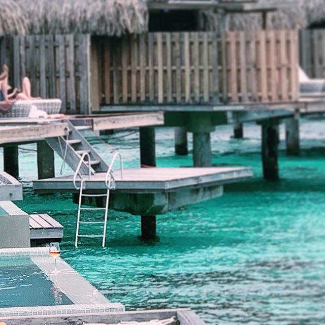 I think the definition of paradise is having a glass of rosé in your private hot tub off your balcony overlooking the turquoise lagoon in Bora Bora while there celebrating the nuptials of friends with friends. Agree??? 🌹🍷🌊🛀🏽 #welcometoparadise #borabora #heavenonearth #winegoals #roséseason