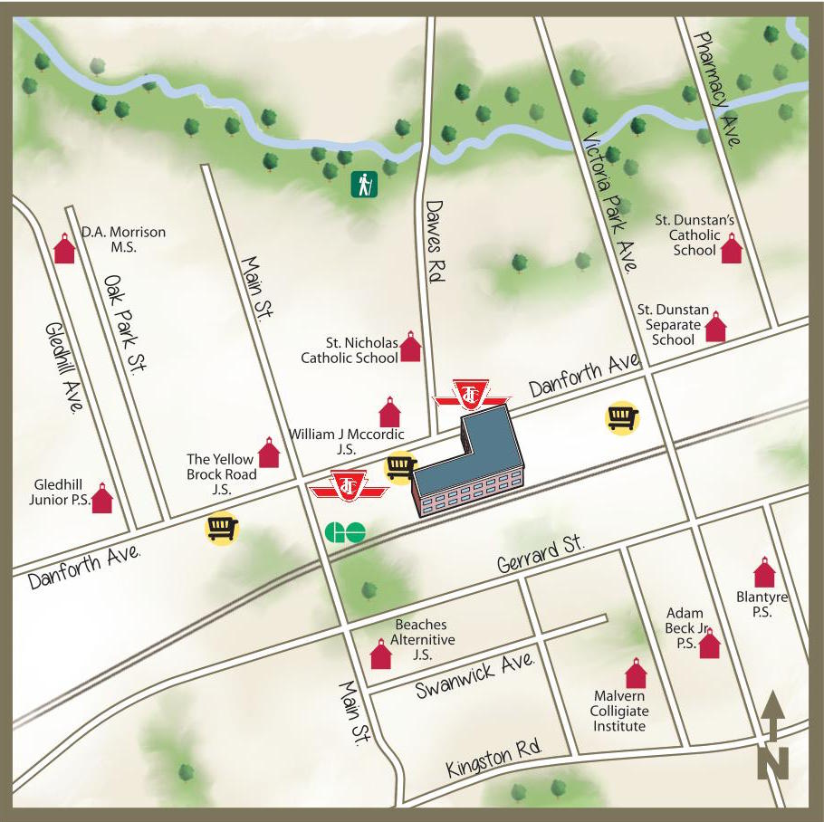 illustrated map of danforth area toronto main streets