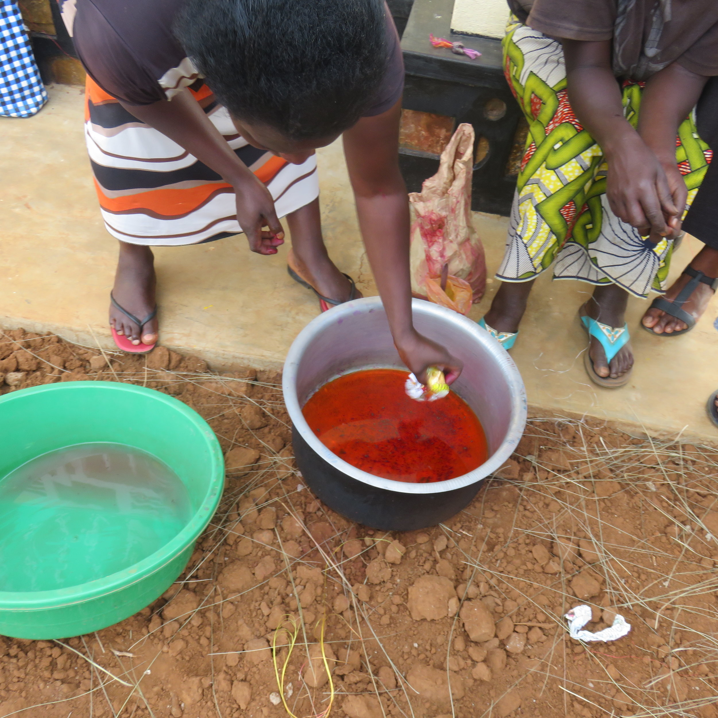 Figure 1: Mixing the orange flour with water.