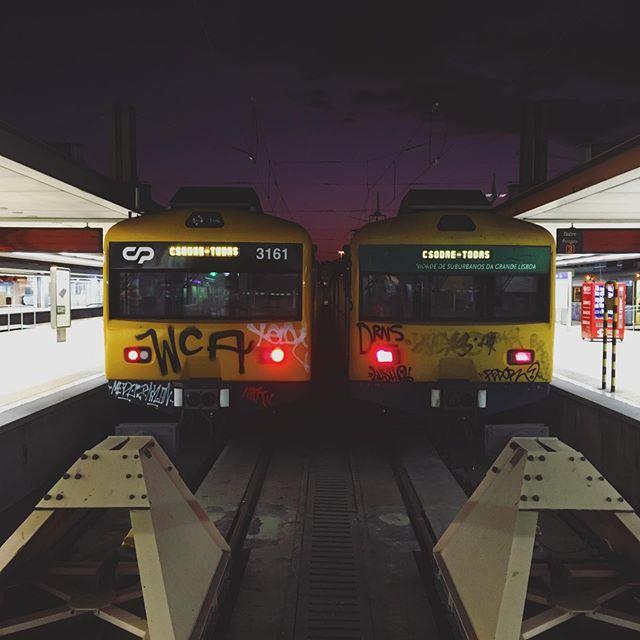 . . . . . #train #travel #tram #tramway #sunset #world #rail #station
