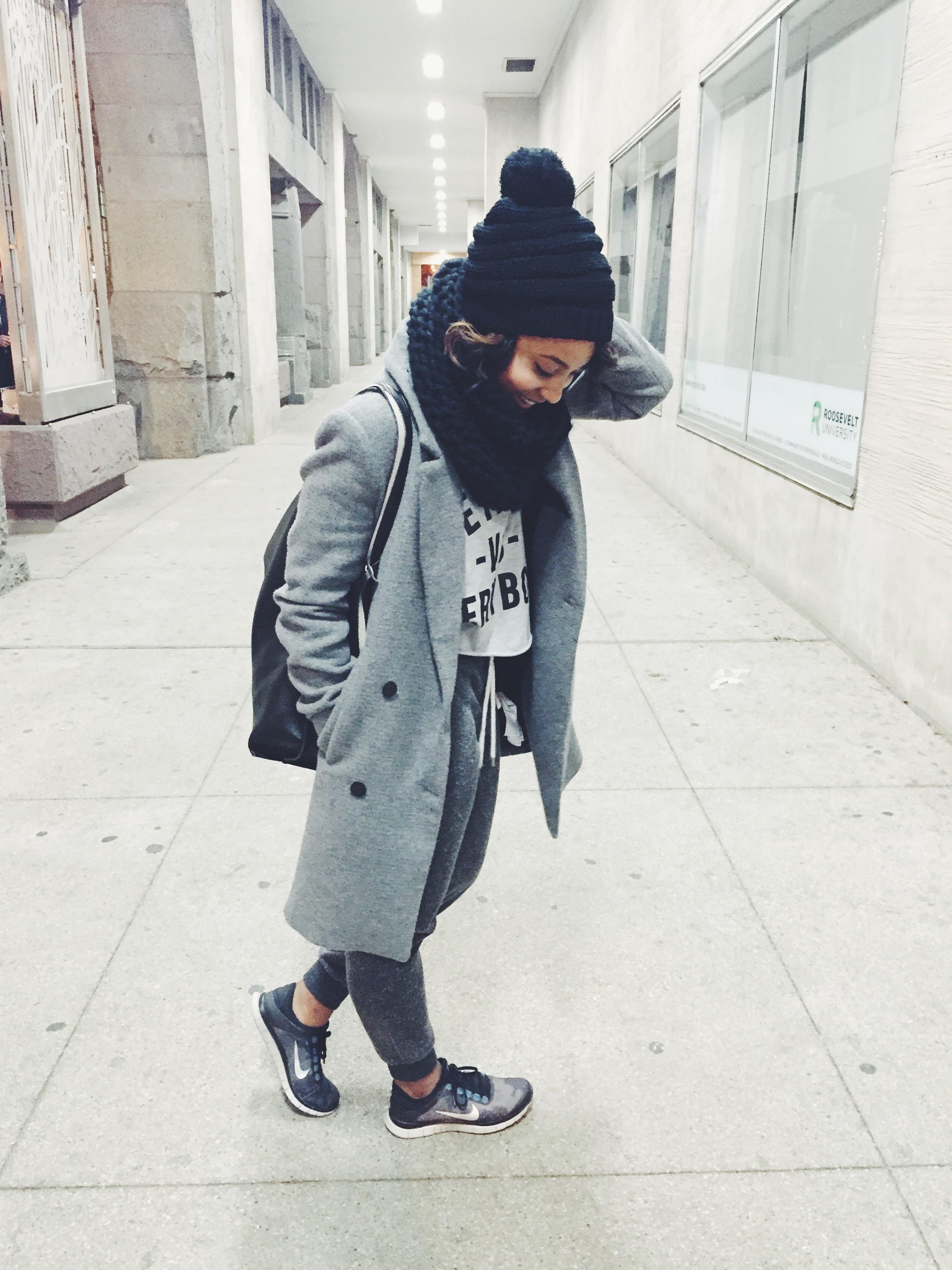 Hat: Akira/ Coat: Zara/ Shirt: Detroit vs. Everybody/ Pants: Topshop/ Shoes: Nike/ Bag: Francesca's/ Scarf: Zara