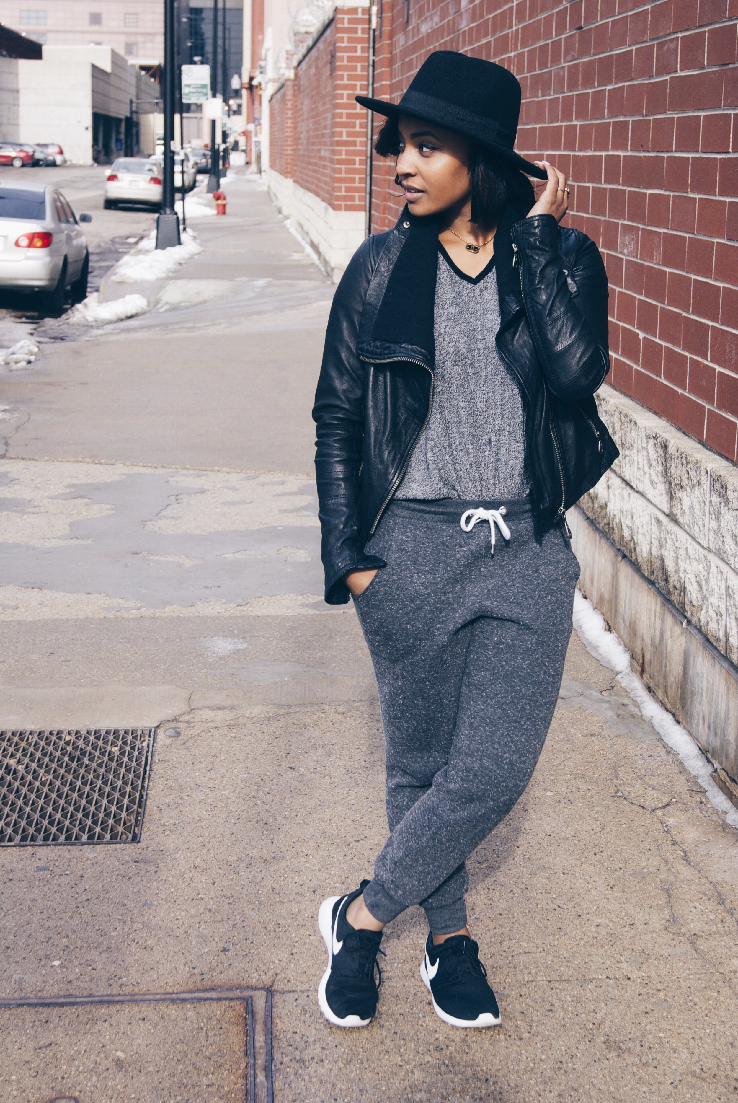 Hat: H&M / Jacket: Doma / Shirt: Thrifted / Sweatpants: TopShop / Shoes: Nike / Necklace: Givenchy / Ring: Kate Spade