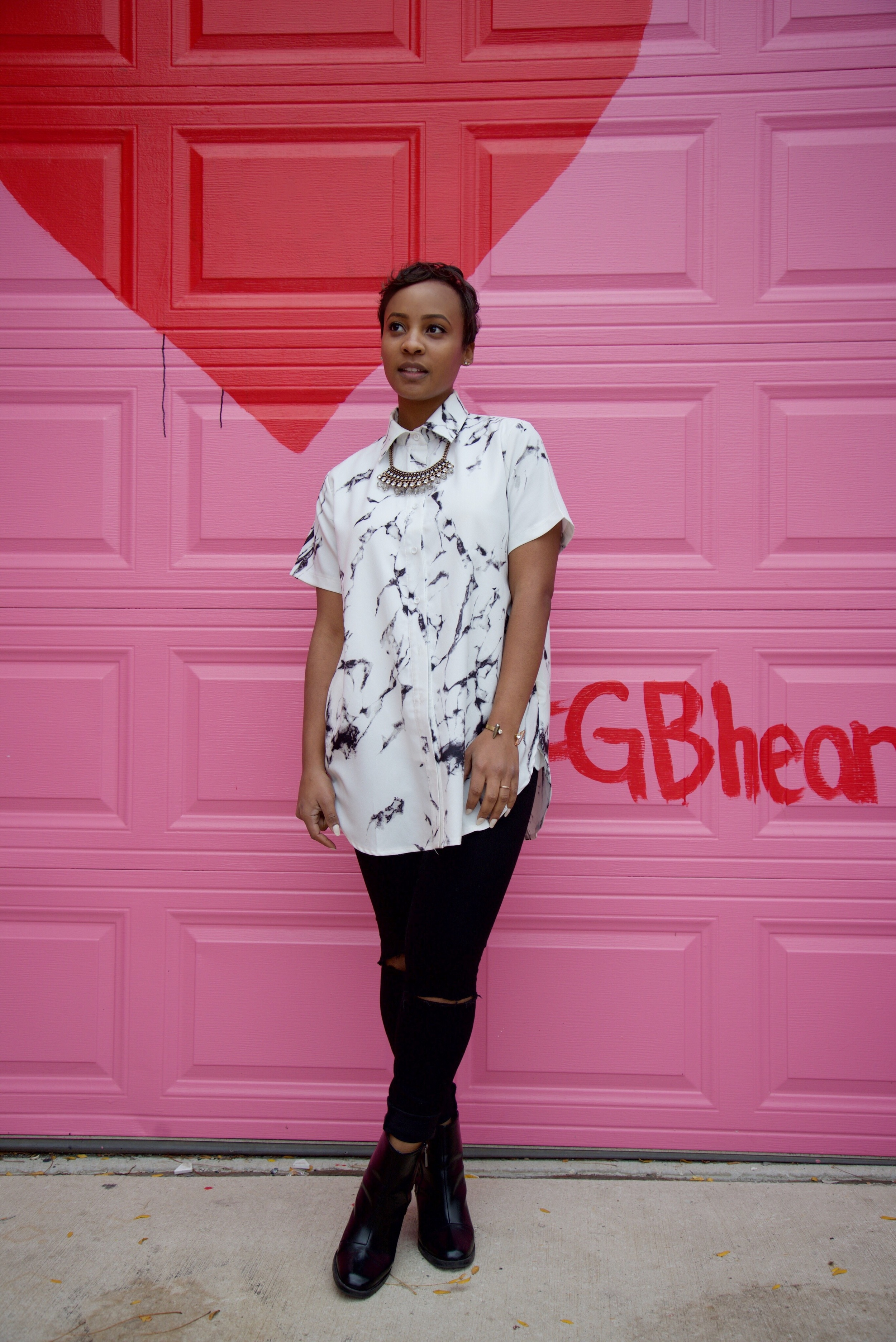 Shirt:  Young Hungry Free / Jeans:  Madewell  / Shoes: Zara ( similar here ) / Necklace: H&M