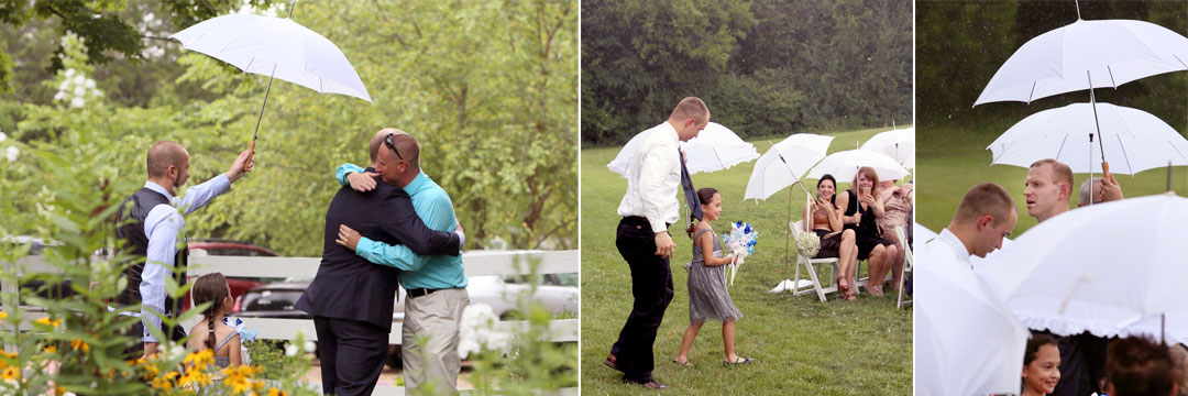 "Due to rain...""good luck showers"" we had to move the ceremony to the tent.  A quick regrouping- but just as beautiful!"