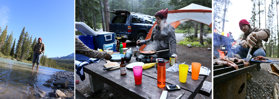 After a wonderful day driving and all the sight seeing we arrived to Lake Louise campground to set up camp for the night.