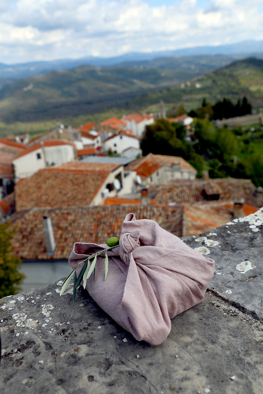 picnic overlooking town of Motovun