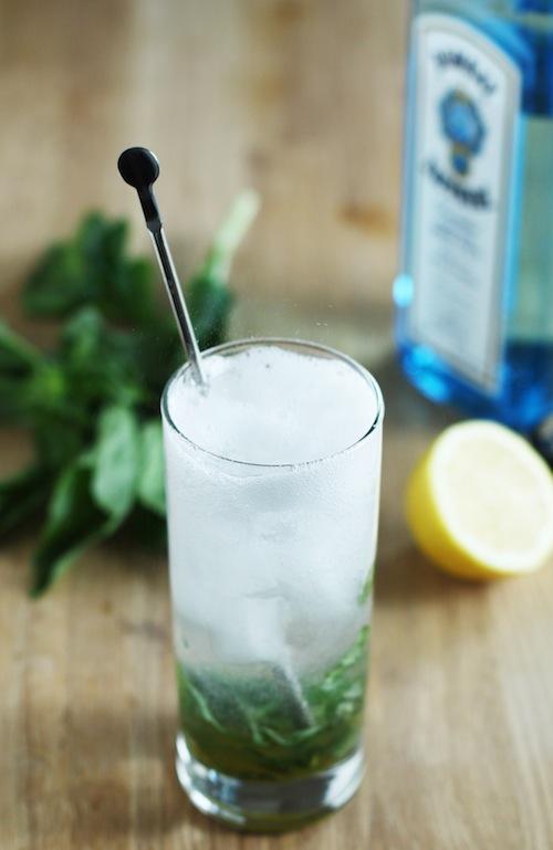 Basil Gin Fizz Cocktail