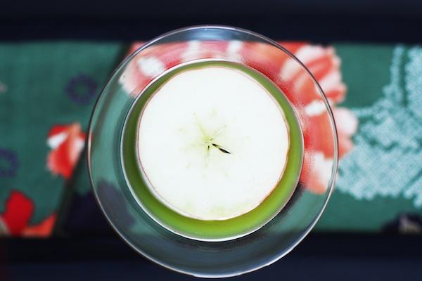 Green Tea Apple Martini with Garnish