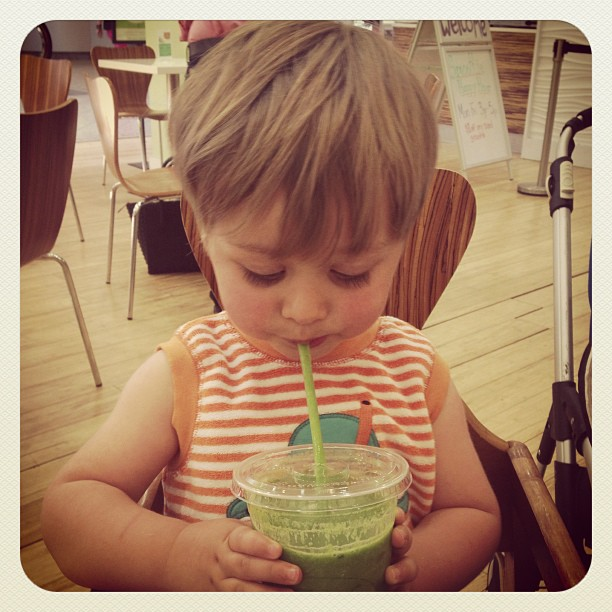 Riley and his smoothie...