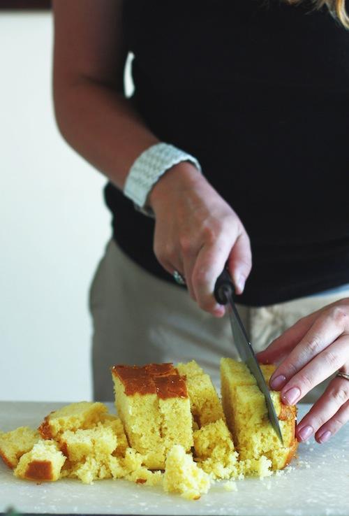 Cutting Cornbread into Cubes