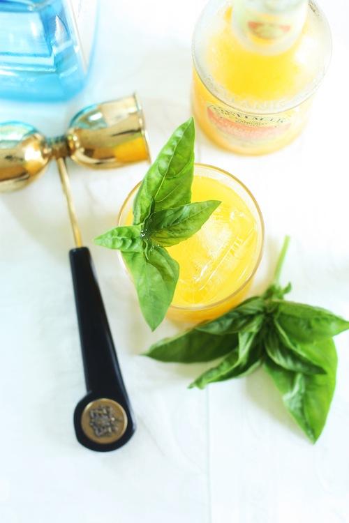 orange-basil gin cocktail