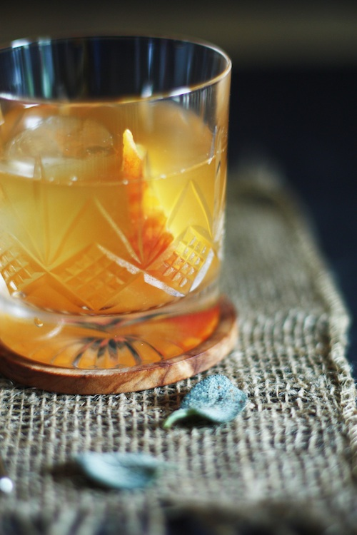 Brown Butter Old Fashioned Recipe with Peach & Sage :: Set the Table