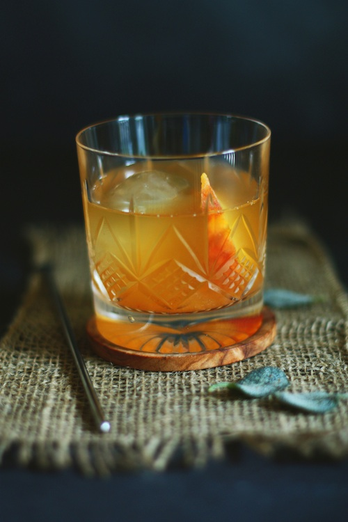 Brown Butter Old Fashioned with Crispy Sage & Peaches :: Set the Table