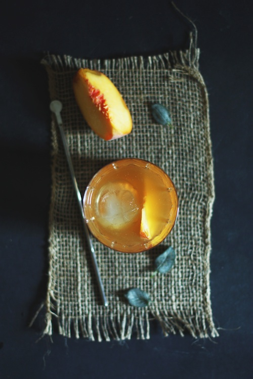 Brown Butter Old Fashioned with Peach & Sage :: Set the Table