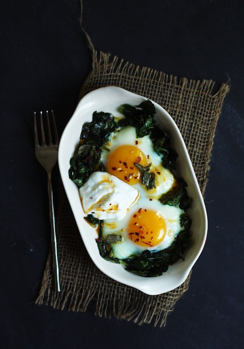 Baked Eggs with Chard & Yogurt :: Set the Table