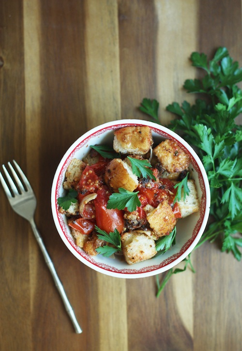 Roasted Tomato & Crouton Salad :: Set the Table