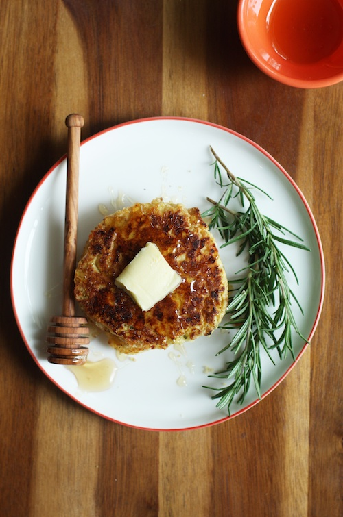 Savory Corn Cakes with White Cheddar & Rosemary :: Set the Table