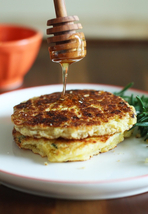 Savory Corn Pancakes with Honey :: Set the Table