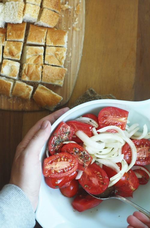 Tomato & Crouton Salad Ingredients :: Set the Table