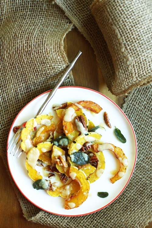 Roasted Delicata Squash with Miso Dressing :: Set the Table