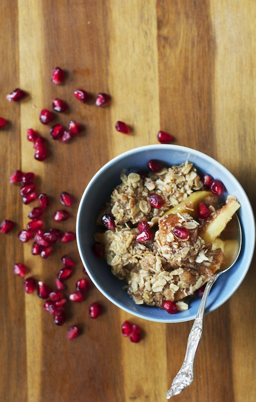 Apple Crisp with Maple Syrup & Pomegranate Seeds | Set the Table