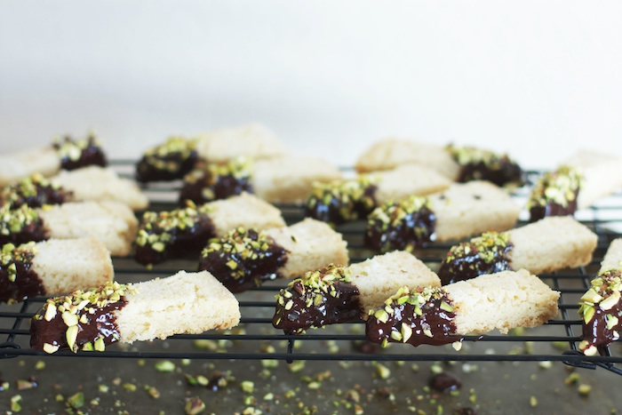 Shortbread Cookies Dipped in Chocolate & Pistachios | Set the Table