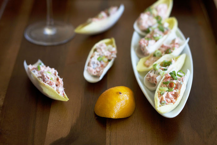 Smoked Salmon in Endive Leaves