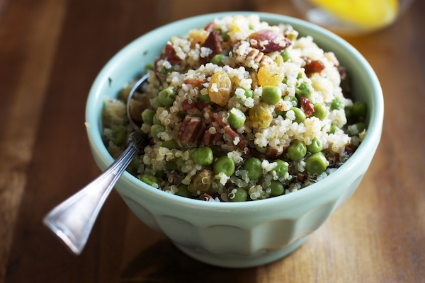 Spring Quinoa with Bacon, Peas & Golden Raisins | Set the Table