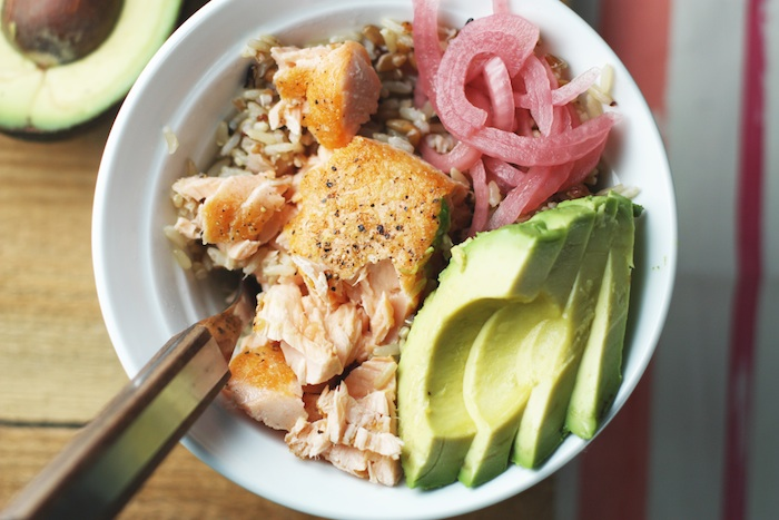 Whole Grain Salmon Bowl with Avocado & Pickled Onions | Set the Table