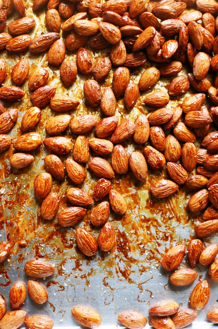 Healthy Maple Soy Roasted Almonds | Set the Table