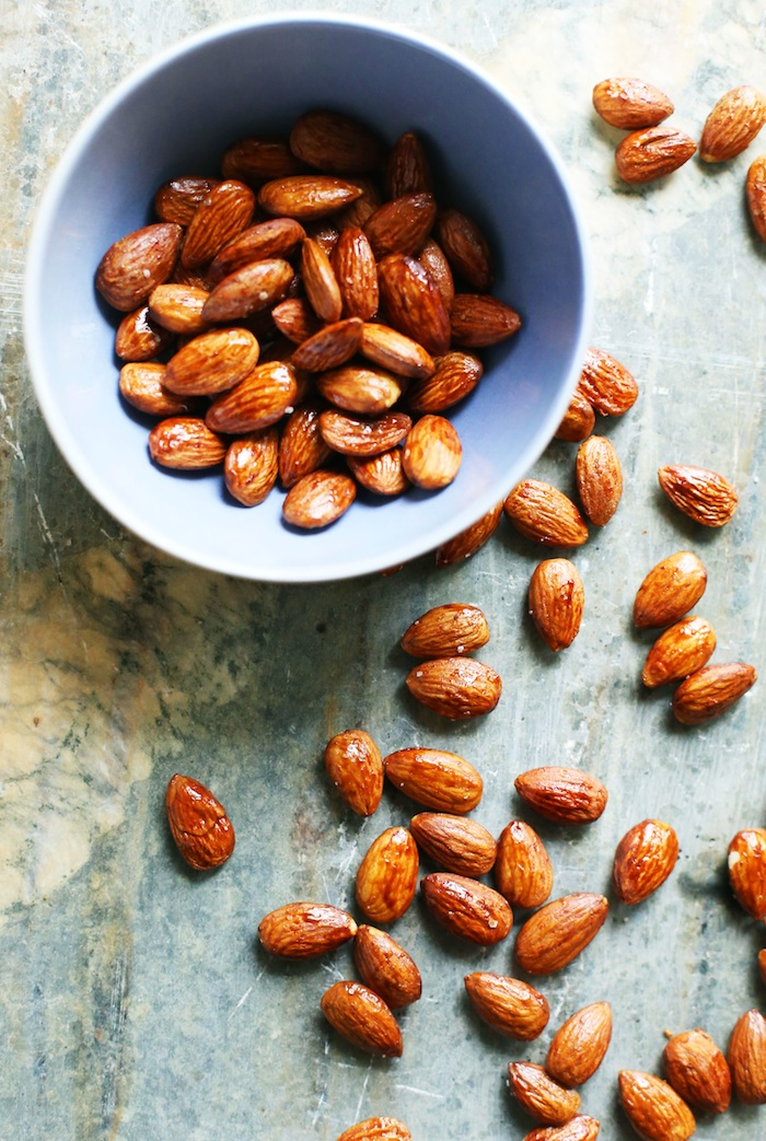 Simple Maple Soy Roasted Almonds | Set the Table