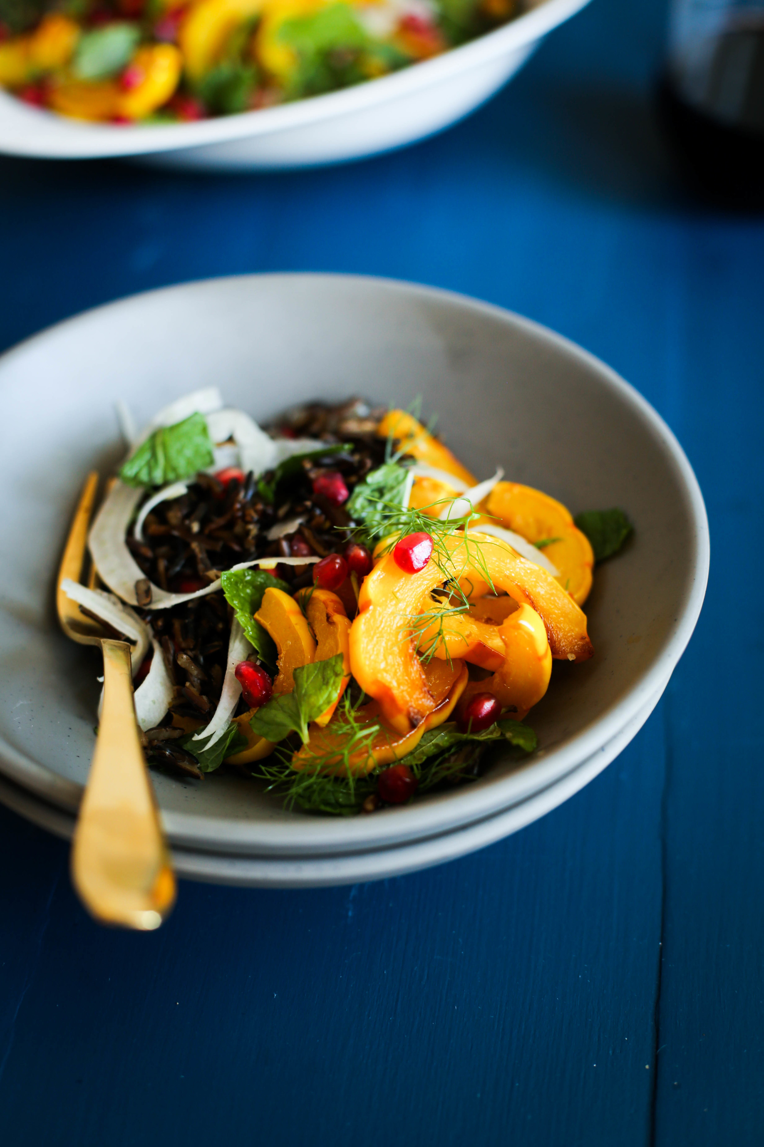 Roasted Squash & Wild Rice Salad with Fennel, Mint & Pomegranate | Set the Table