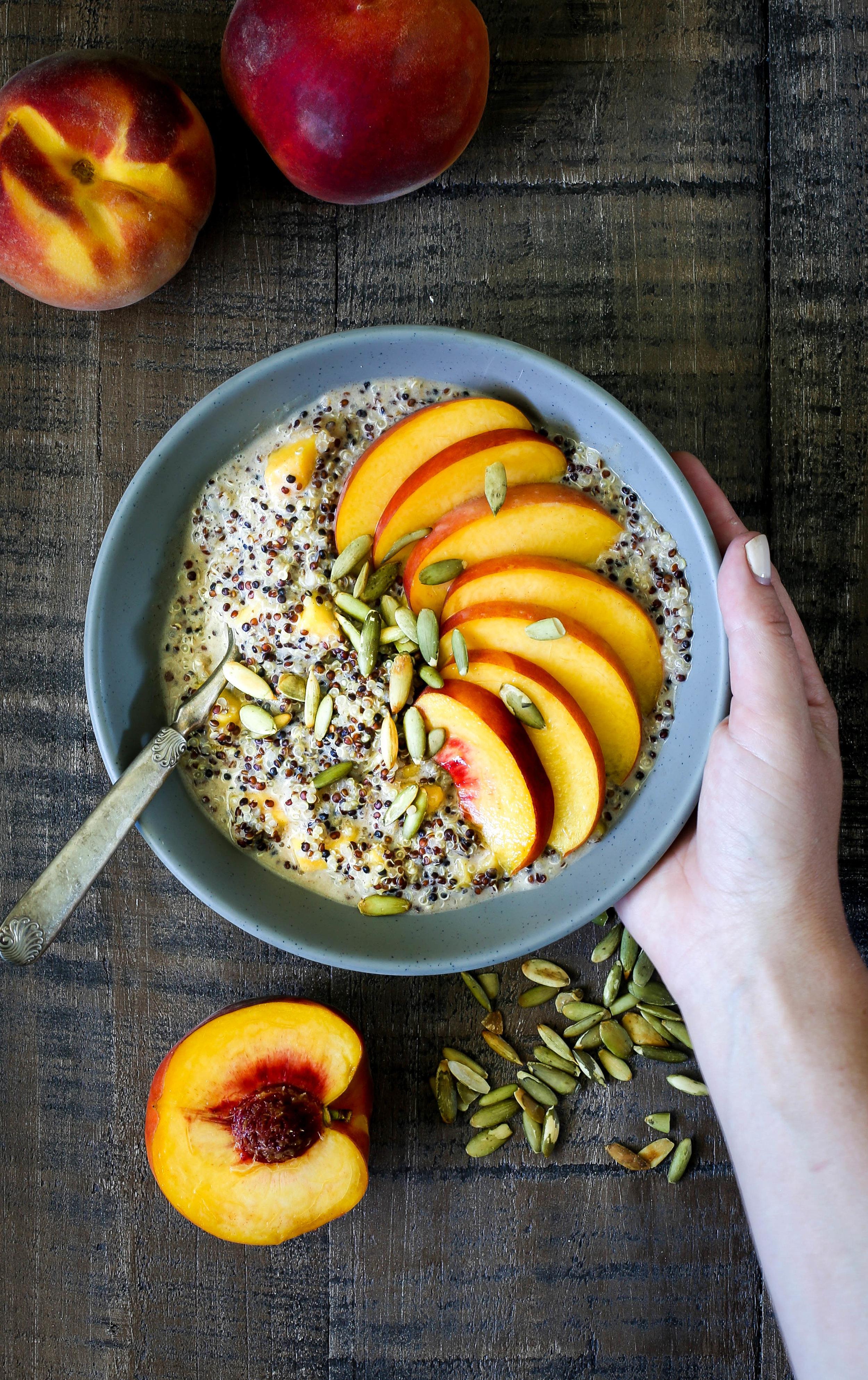 Peaches & Cream Quinoa Porridge