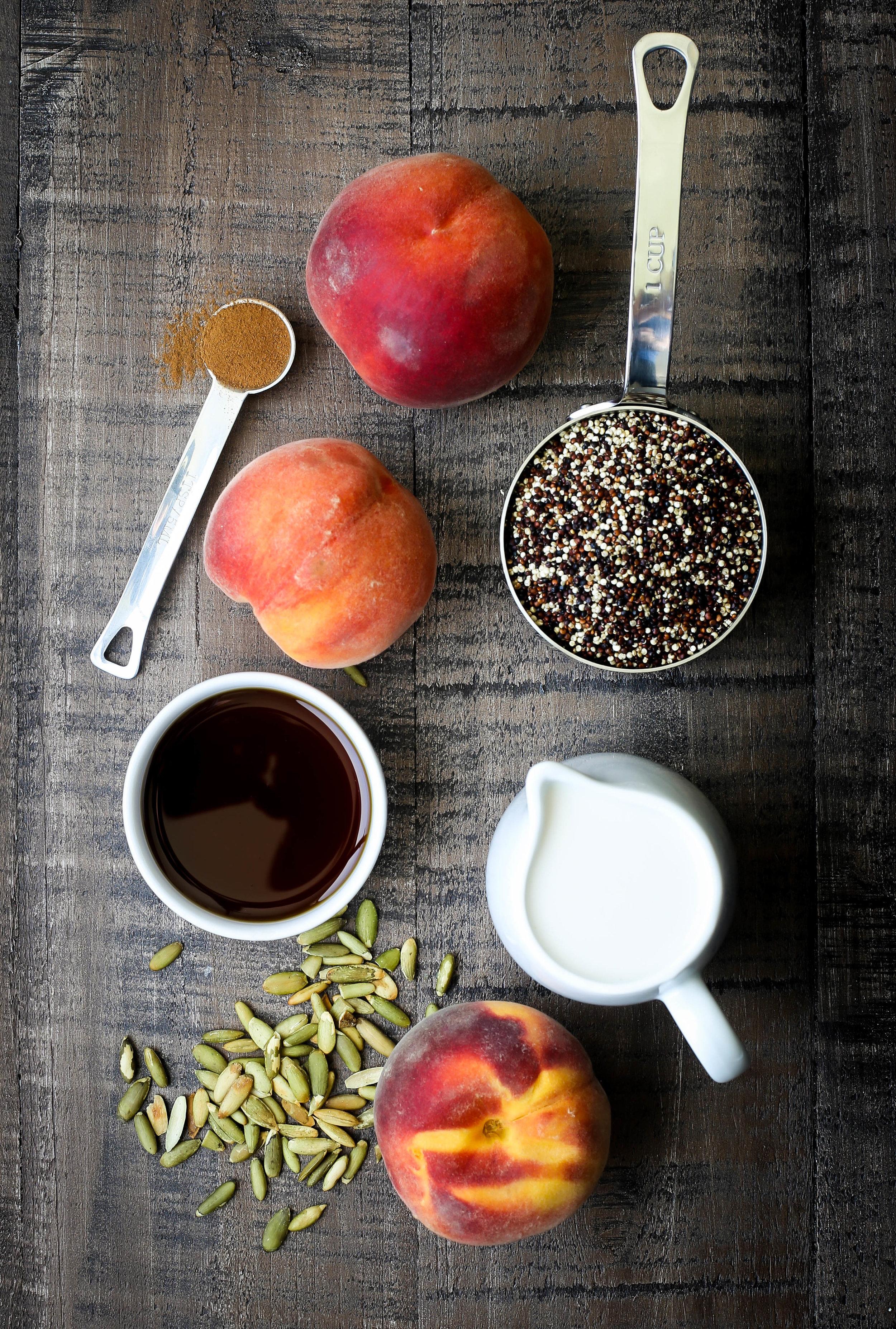Spiced Peaches & Cream Quinoa Porridge